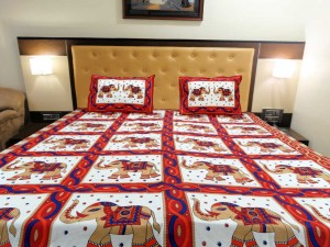 Red Elephant Ethnic Double Bed Sheet