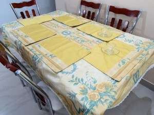 Golden Yellow Floral Table Cover (Cream Lace)