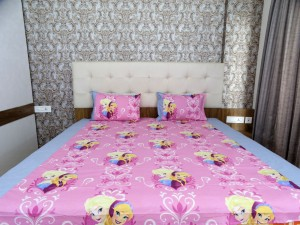 Anna Elsa Heart Cartoon Double Bed Sheet