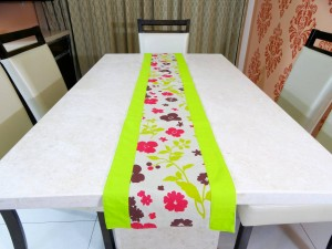 Green Floral Cotton Table Runner