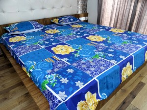 Blue flowers Double Bed Sheet