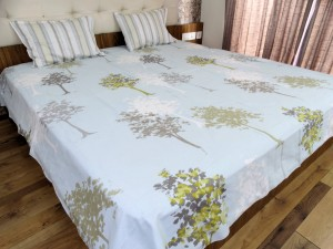 Trees & Stripes Designer Double Bed Sheet