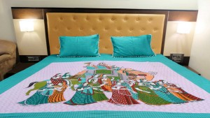 Green Royal Procession Double Bed Sheet
