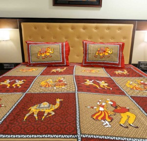 Elephant and Camels Ethnic Double Bed Sheet