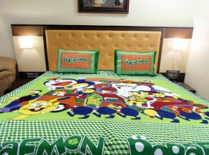 Green Big Doraemon Double Bed Sheet