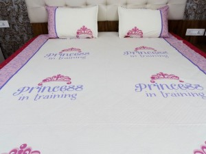 """ Princess in Training"" Cartoon Double Bed Sheet"