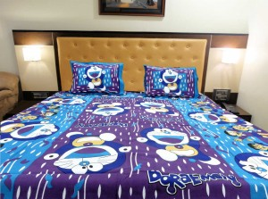 Purple Blue Doraemon Double Bed Sheet