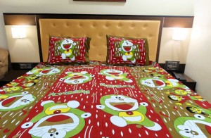 Brown Green Doraemon Double Bed Sheet