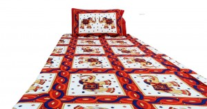 Red Elephant Ethnic Cotton Single Bed Sheet