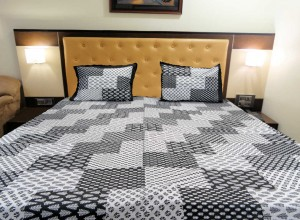 Quilted patches Printed Double Bed Sheet