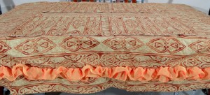 6 Seater Golden Copper Color Cotton Table Cover Set (7 PCS)