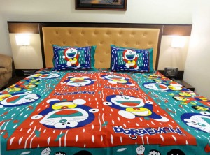 Orange Green Doraemon Double Bed Sheet