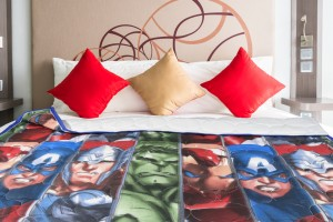 Superhero Cartoon Quilt (blue border)