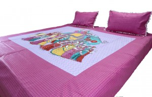 Pink Royal Procession Double Bed Sheet