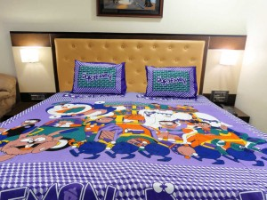 Purple Big Doraemon Double Bed Sheet