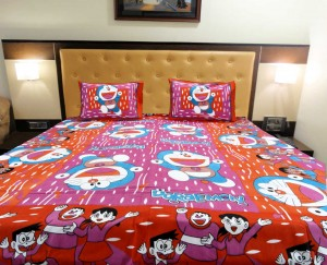 Pink Orange Doraemon Double Bed Sheet