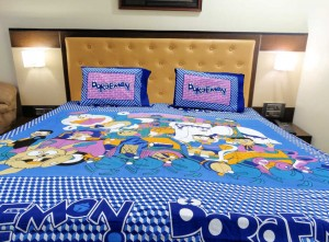Blue Big Doraemon Double Bed Sheet